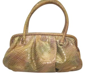 Francesco Biasia Metallic Leather Biasia Satchel in Gold