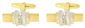 Other AGS 14K White Yellow Gold Diamond Cuff Links 13.4 Grams
