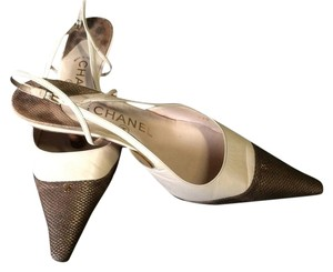 Chanel Slingback Cream Beige & Brown Pumps