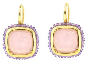 Other 18K Yellow Gold Amethyst Pink Tourmaline Hoop Earrings 9.6 Grams