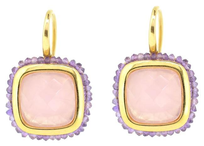 18k Yellow Gold Amethyst Pink Tourmaline Hoop 9.6 Grams Earrings 18k Yellow Gold Amethyst Pink Tourmaline Hoop 9.6 Grams Earrings Image 1