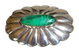 Other Vintage Malachite and Sterling Silver Pin