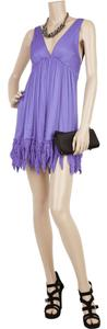 Elizabeth and James Silk Mini Resort Fringe Hem Dress
