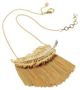 Amrita Singh Amrita Singh Statement Gold Feather Chains Crystals Necklace New