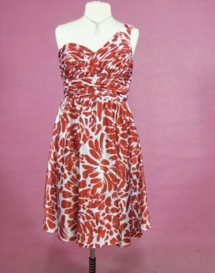 Alfred Angelo Burnt Orange/Cream Charmeuse 7059 Formal Bridesmaid/Mob Dress Size 12 (L)