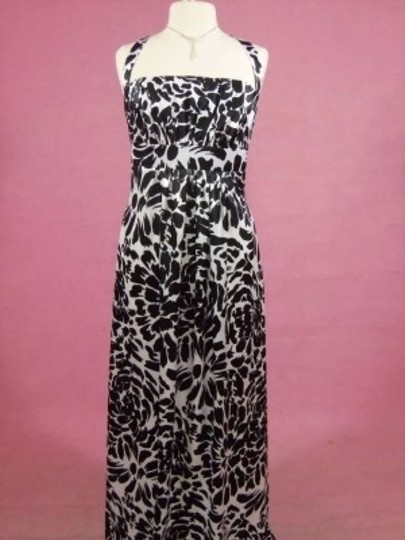Alfred Angelo Black/Cream Charmeuse 7060 Formal Bridesmaid/Mob Dress Size 14 (L)