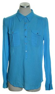 Calypso St. Barth Crinkled Popover Shirt Top Blue