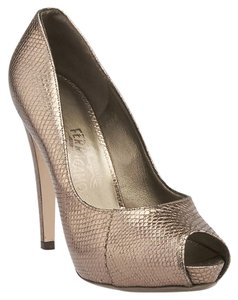 Salvatore Ferragamo Fiordaliso Mercurio Lizard Open Toe Grey Pumps