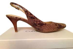 Calvin Klein Snake Leather Taupe Python Pumps