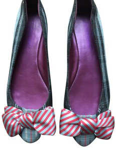 Coach Plaid Bows Navy Blue Flats