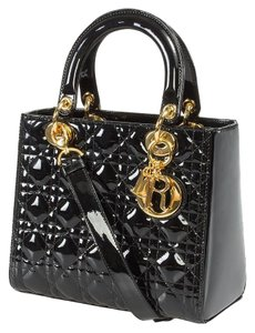 Dior Patent Lady Medium Tote in Black