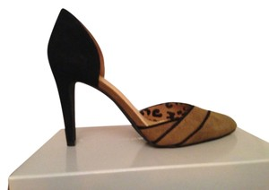 Jessica Simpson Two-tone Kidskin Suede Stiletto D'orsay Black and Tan Pumps