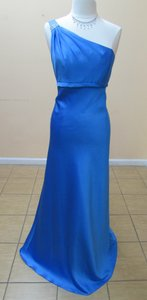 Alfred Angelo Marine Blue Satin 7068 Formal Bridesmaid/Mob Dress Size 14 (L)