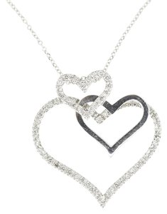 14K White Gold 0.35Ct Diamond Triple Hearts Pendant Necklace 16