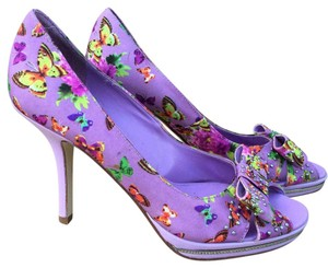 BCBGeneration Multicolor Butterfly Bow Peep Toe Purple Pumps