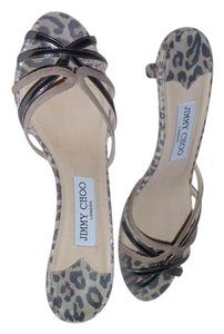Jimmy Choo Leopard print - beige black and silver Sandals