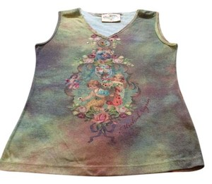 Michal Negrin M M Signed M Tiny Sequin M Top Multi Colored Angels & Roses