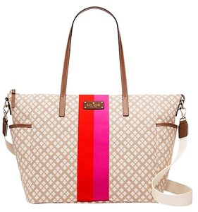 Kate Spade Stucco Cream Pink Red Diaper Bag