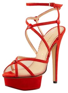Charlotte Olympia Suede Orange Sandals