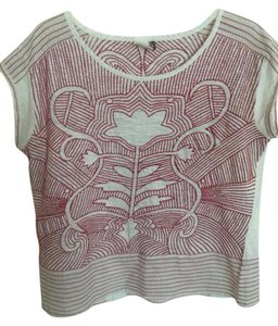 Anthropologie Cotton Designs Embroidered Linen Feel Top Red and white
