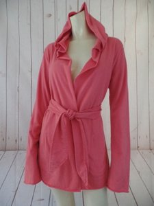 Lucky Brand Lucky Sweat Hoodie Blazer Cotton Open Front Boho Hot Salmon Pink Jacket