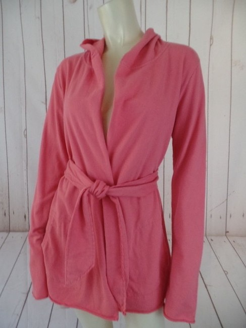 Lucky Brand Sweat Hoodie Blazer Cotton Open Front Boho Hot Salmon Pink Jacket