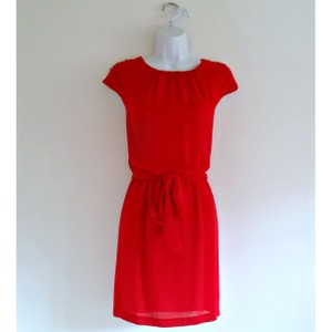 Guess Belted Gold Cap Sleeve Greco Roman Dress