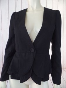 Miu Miu Miu Miu Blazer Us 4-6 Black Button Front Double Pleat Peplum Made In Italy