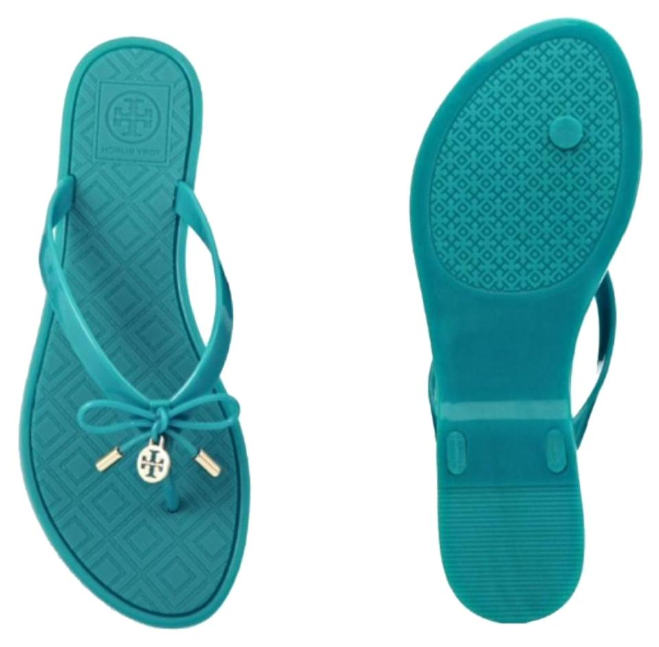 31bdf1f66271 Tory Burch Jelly Bow Flip Flops Turquoise Sandals Size US 8 Regular ...
