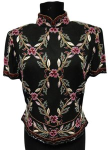 Adrianna Papell Beaded Multi Color Evening Top black