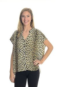 Twelfth St. by Cynthia Vincent Street Leopard Oversized Silky Button Up Shirt Top Multi-Color