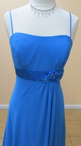 Alfred Angelo Marine Blue Chiffon 7076 Formal Bridesmaid/Mob Dress Size 12 (L)