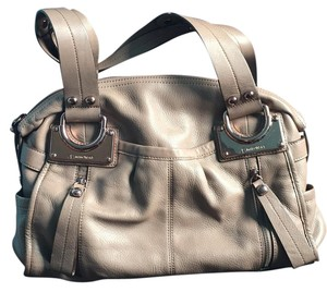 B. Makowsky Satchel in Toupe, Copper Accts.