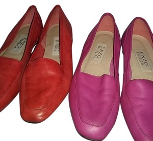 Enzo Angiolini Red and Hot Pink Flats