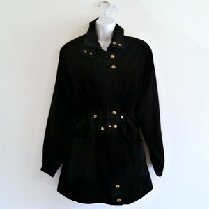 Bellissima Long Slinky Cinched Anorak Gold Black Jacket