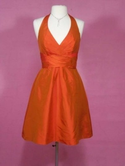 Alfred Angelo Orange Sunset Silk 7102 Formal Bridesmaid/Mob Dress Size 8 (M)