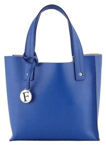 Furla Designer Leather Tote in Ocean Blue
