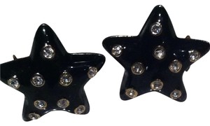 Carolee Carolee Star Shaped Black Enamel & Crystal Earrings