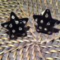 Carolee Carolee Star Shaped Black Enamel & Crystal Earrings Image 1