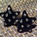Carolee Carolee Star Shaped Black Enamel & Crystal Earrings Image 2