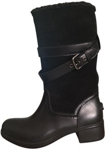 Coach Midcalf Leather Rubber Fleece Black Boots