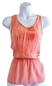 Anthropologie Open Back Tie Pleats Pleated Top Pink