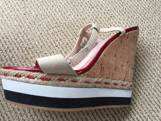 Tracy Reese Wedge black/white/ red Sandals