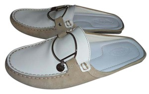 Tod's Patent Leather Suede Signature White and Tan with Metal Accents Mules