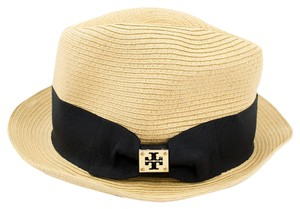 Tory Burch Tory Burch Classic Grosgrain Fedora Hat Natural Straw/Black One Size