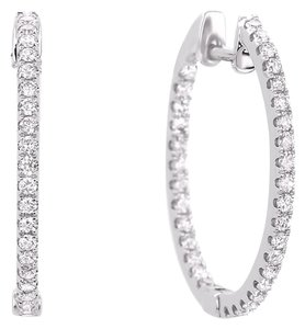 Avi and Co 1.85 cttw Round Brilliant Diamond Inside-Outside Hoop Earrings 14K White Gold