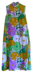 Multicolor Maxi Dress by Richard Douglas Vintage 1960s Colorful Floral