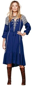 Blue Maxi Dress by Free People Embroidered Longsleeve Boho Cotton Ruffle