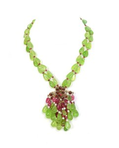 Chanel Chanel Green & Red Double Strand Necklace