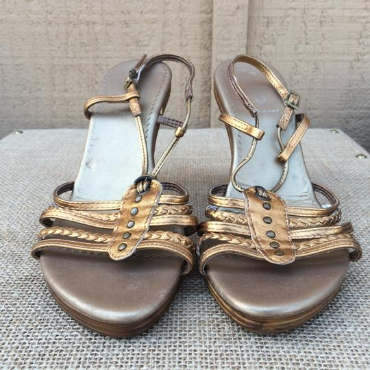 ALDO Strappy Studs Braided Ankle Strap Metallic Gold Sandals